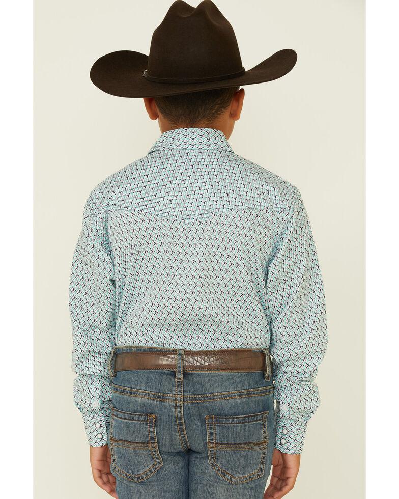 Cinch Boys' White Geo Print Long Sleeve Snap Western Shirt , White, hi-res