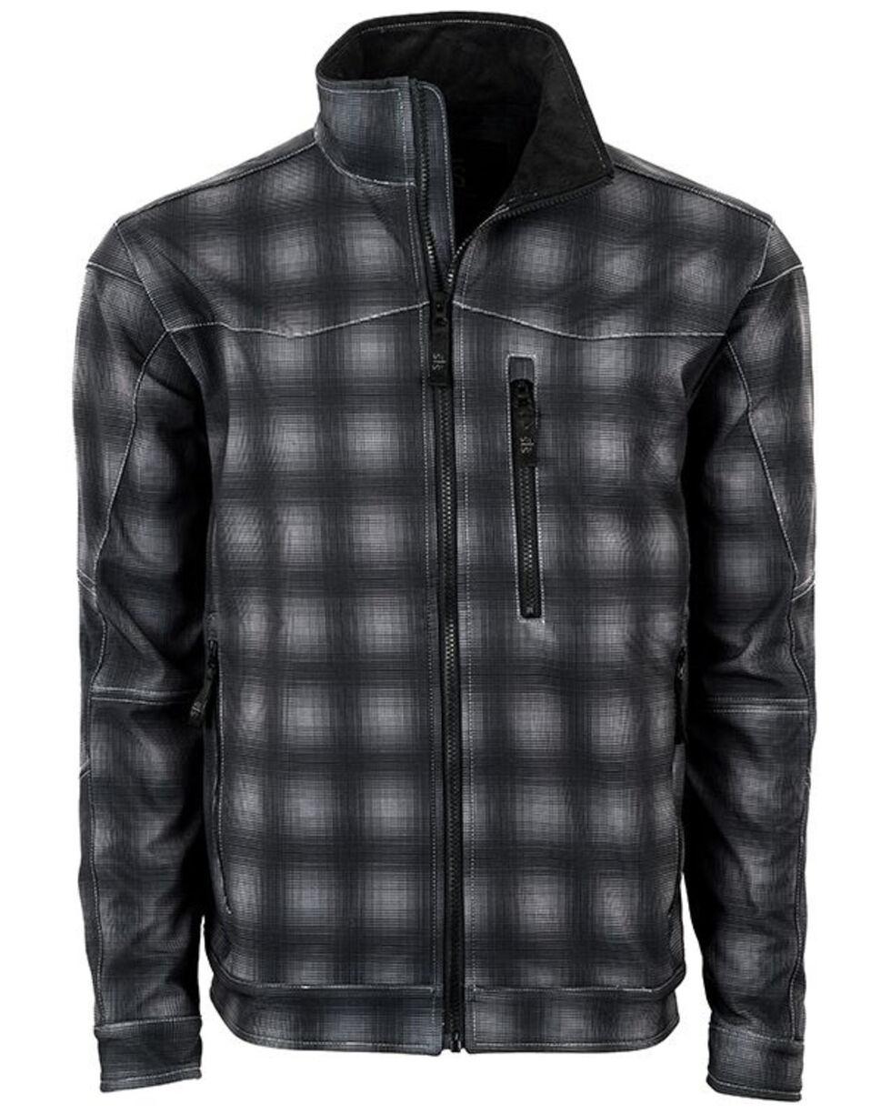 STS Ranchwear Boys' Youth Perf Plaid Softshell Jacket, Black, hi-res