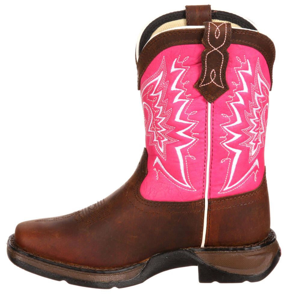 Lil' Durango Youth Girls' Let Love Fly Western Boots - Square Toe, Brown, hi-res