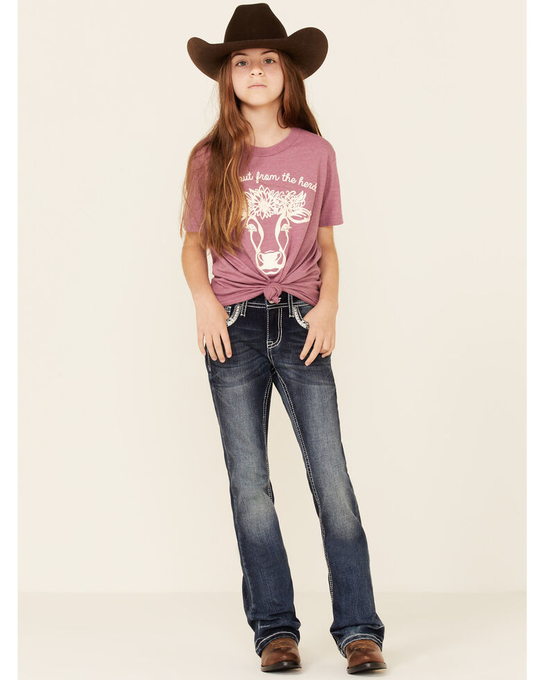 Ali Dee Girls' Mauve Stand Out From The Herd Graphic Short Sleeve Tee , Mauve, hi-res