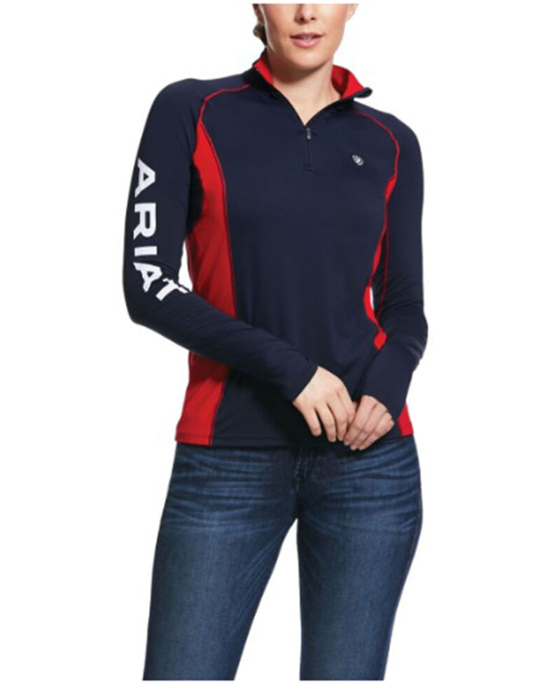 Ariat Women's Navy Tri Factor Team 1/4 Zip Baselayer Pullover, Navy, hi-res