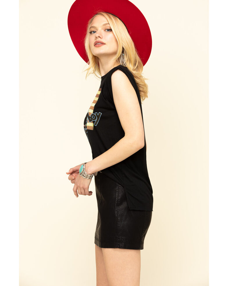 Rodeo Quincy Women's Ride Him Cowboy Flag Rolled Cuff Muscle Tee, Black, hi-res