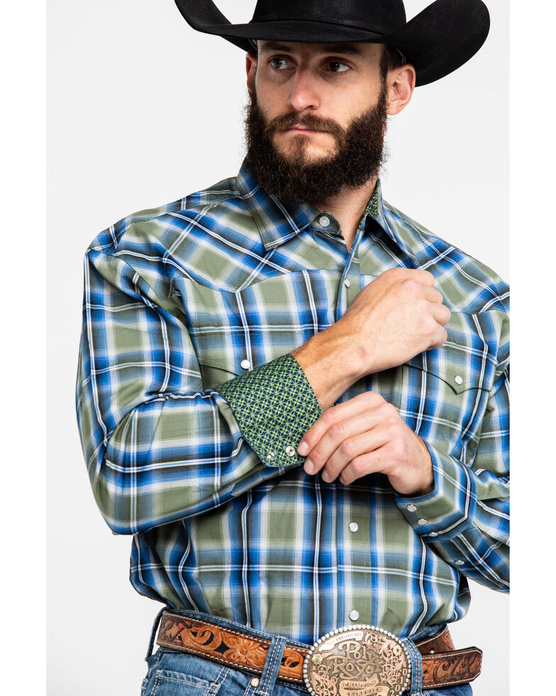 Roper Men's Green Amarillo Meadow Plaid Long Sleeve Western Shirt , Green, hi-res