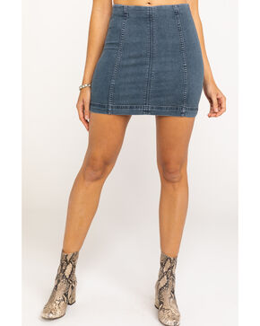 Free People Women's Modern Femme Denim Skirt, Blue, hi-res