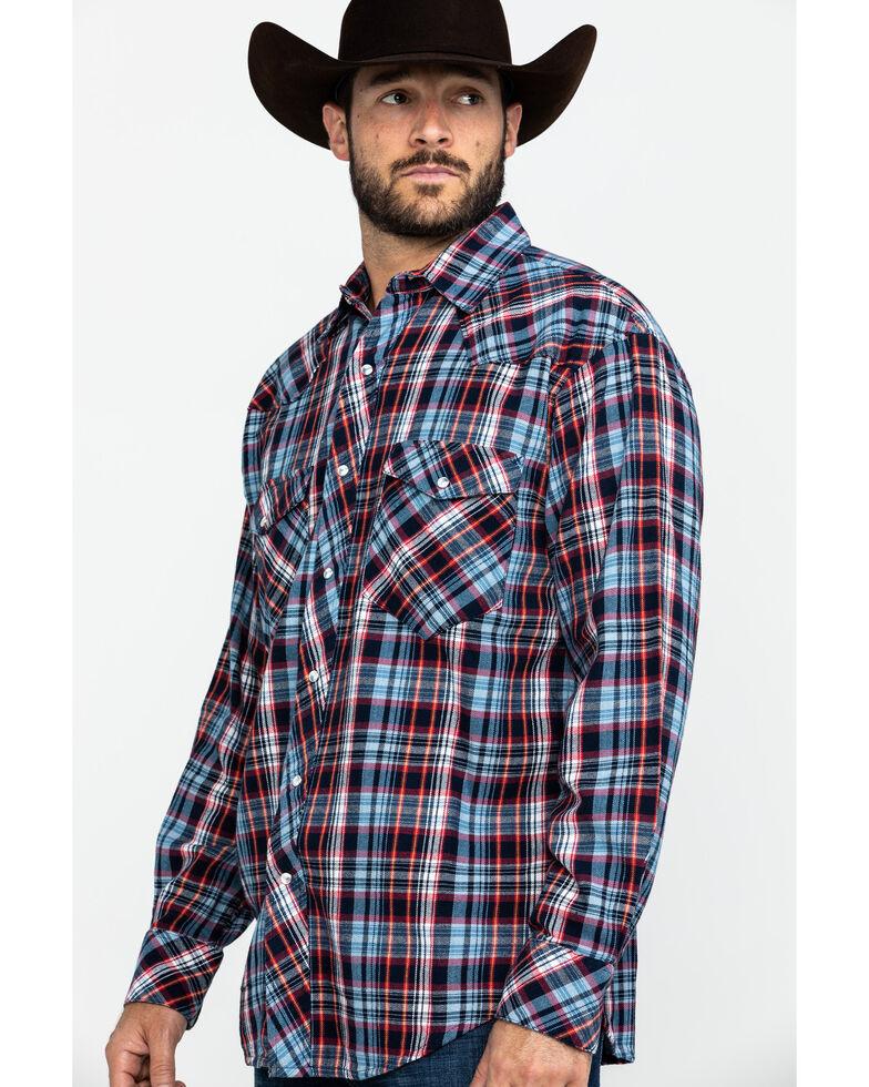 Resistol Men's Crook Small Plaid Long Sleeve Western Shirt , Light Blue, hi-res