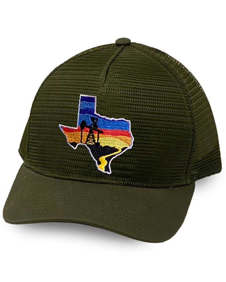 Oil Field Hats Men's Loden Texas Sunset Patch Mesh-Back Ball Cap, Olive, hi-res