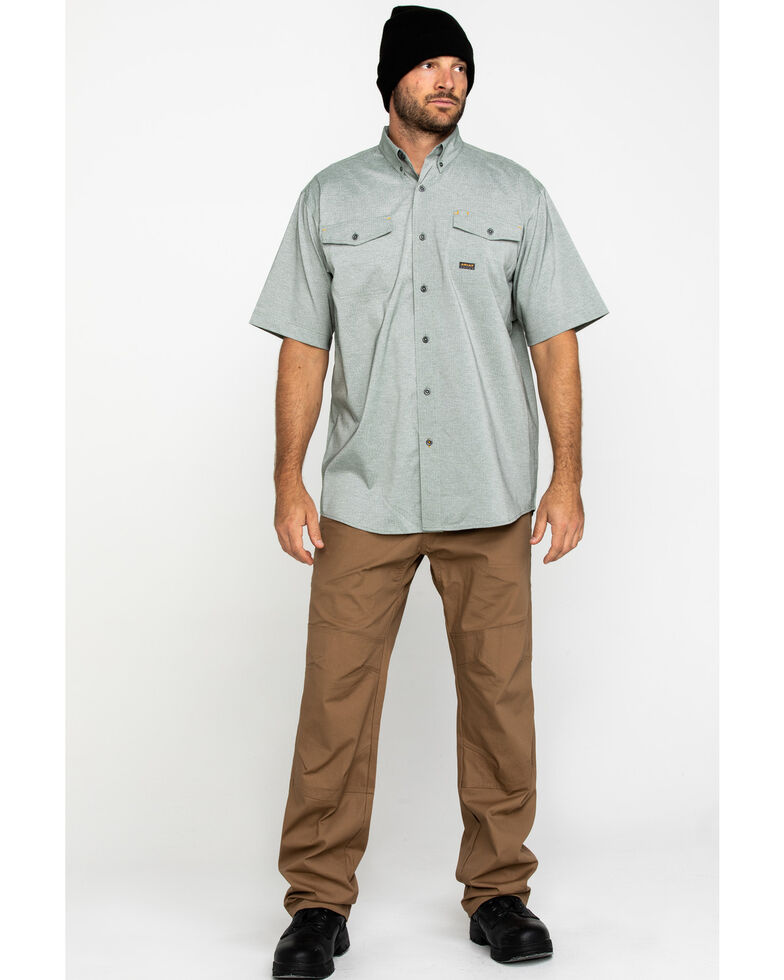 Ariat Men's Olive Rebar Made Tough Durastretch Vent Short Sleeve Work Shirt - Big , Heather Grey, hi-res