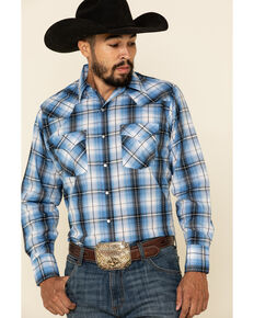 Ely Cattleman Men's Blue Dobby Plaid Long Sleeve Western Shirt, Blue, hi-res
