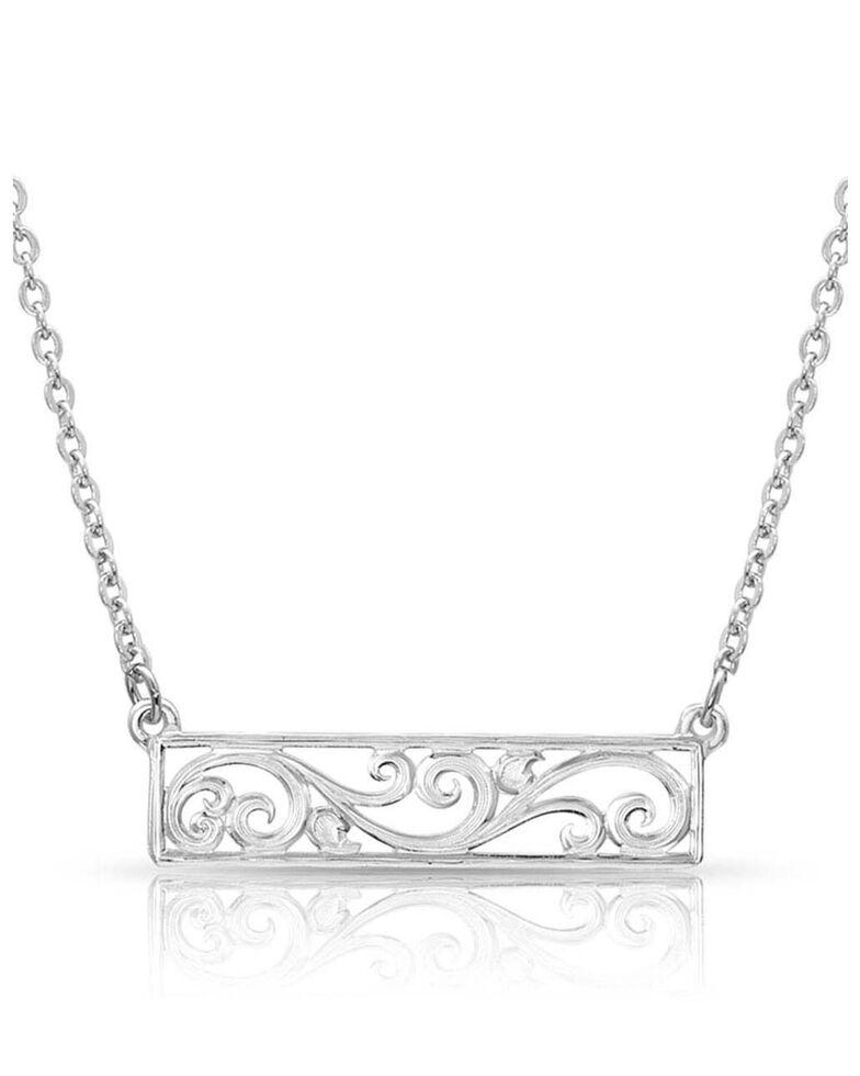 Montana Silversmiths Women's Bar None Scroll Necklace, Silver, hi-res