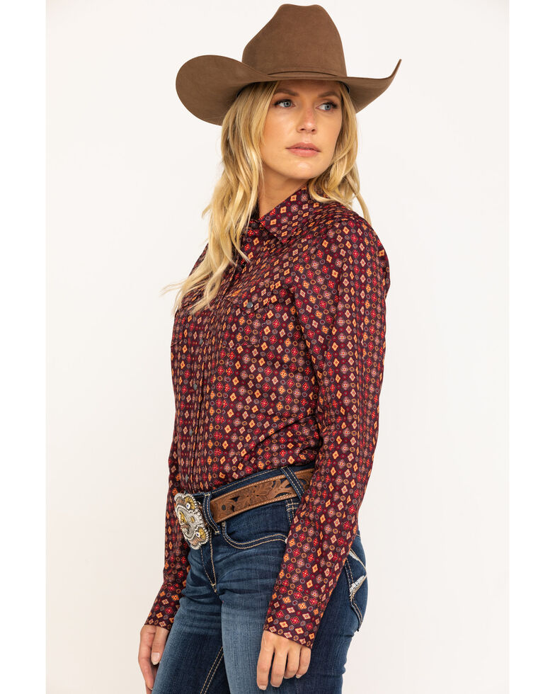 Cinch Women's Plum Diamond Tile Snap Core Long Sleeve Western Shirt, Purple, hi-res