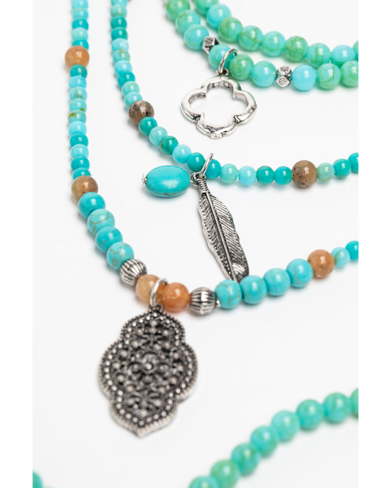 Shyanne Women's Hidden Treasure Layered Turquoise Bead Cross Necklace, Silver, hi-res