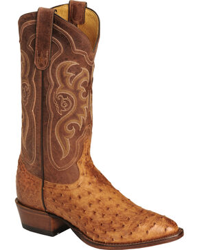Tony Lama Men's Vintage Full Quill Ostrich Boots - Medium Toe, Cognac, hi-res