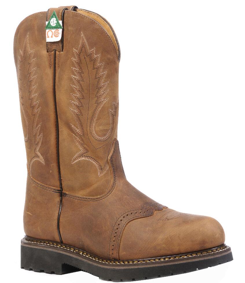 Boulet Hillbilly Golden Flame Resistant Western Work Boots - Steel Toe, Tan, hi-res