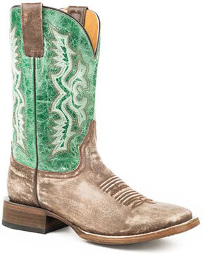 Roper Men's Ace Western Boots - Square Toe, Brown, hi-res