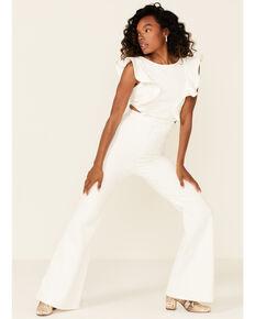 Flying Tomato Women's Denim Ruffle Sleeve Jumpsuit , White, hi-res