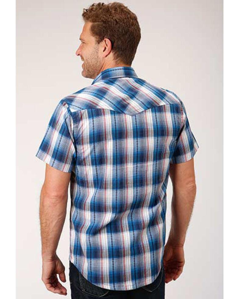 West Made Men's Arrow Dobby Plaid Short Sleeve Western Shirt , Blue, hi-res