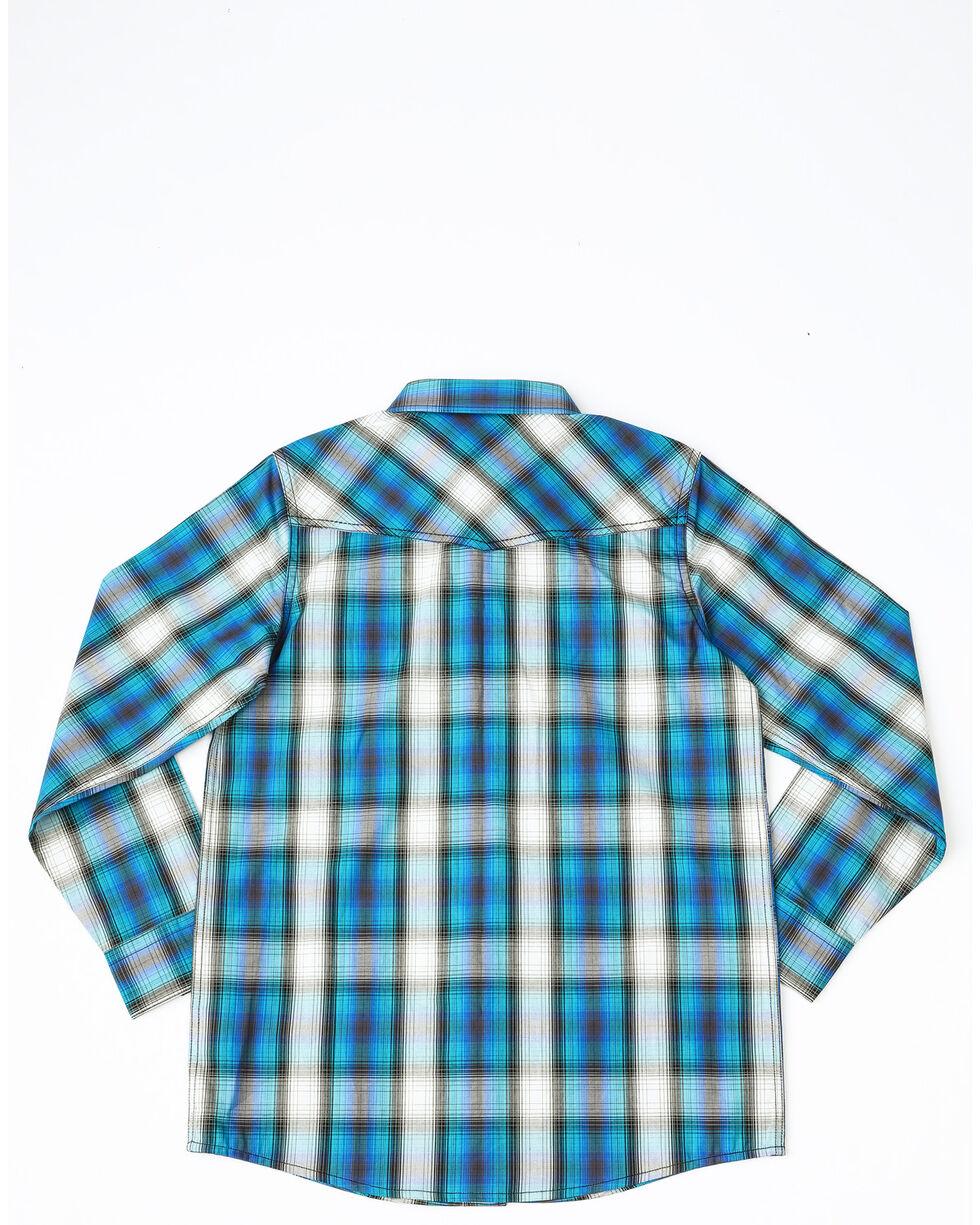 Cody James Boys' Emerald River Plaid Long Sleeve Western Shirt , Turquoise, hi-res