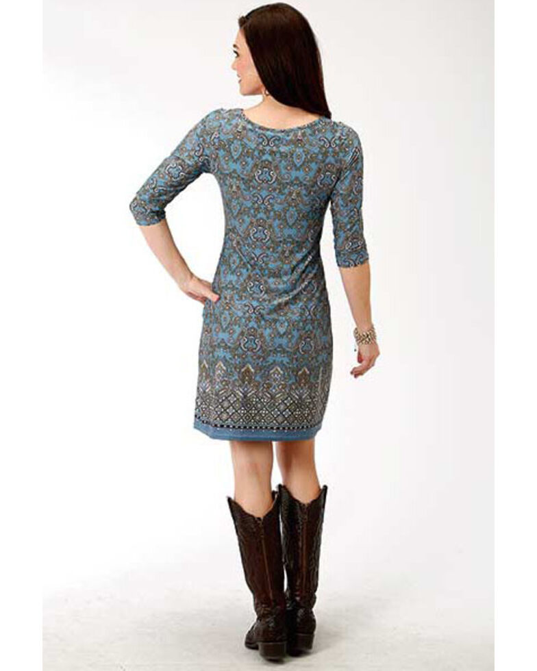 Studio West Women's Border Print Shift Dress, Blue, hi-res