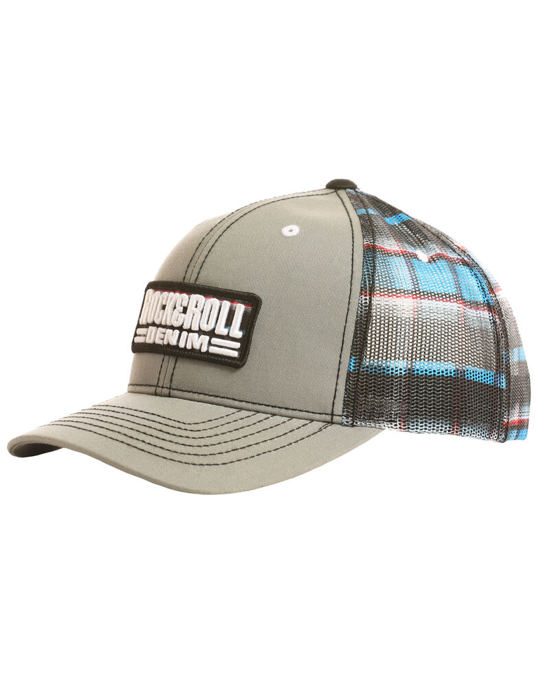 Rock & Roll Denim Men's Patch Plaid Mesh Cap, Grey, hi-res