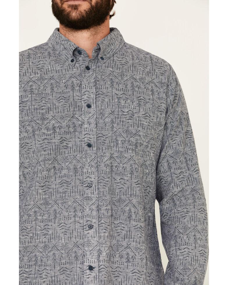 United By Blue Men's Midnight Aztec Soft Hemp Chambray Long Sleeve Western Shirt , Grey, hi-res