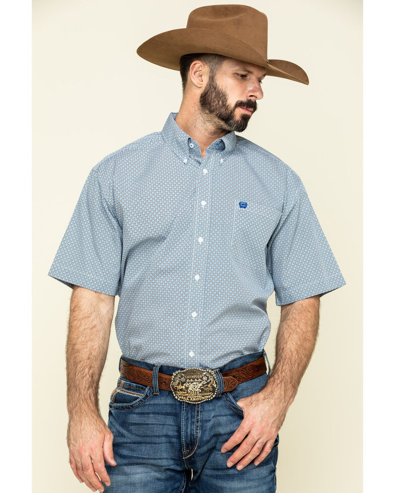 Cinch Men's Multi Small Geo Print Short Sleeve Western Shirt , Multi, hi-res