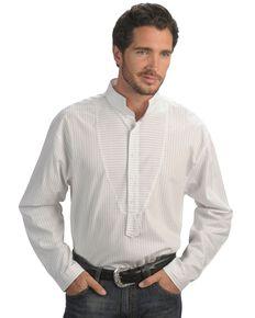 Rangewear by Scully Men's Frontier Stripe Long Sleeve Western Shirt, White, hi-res