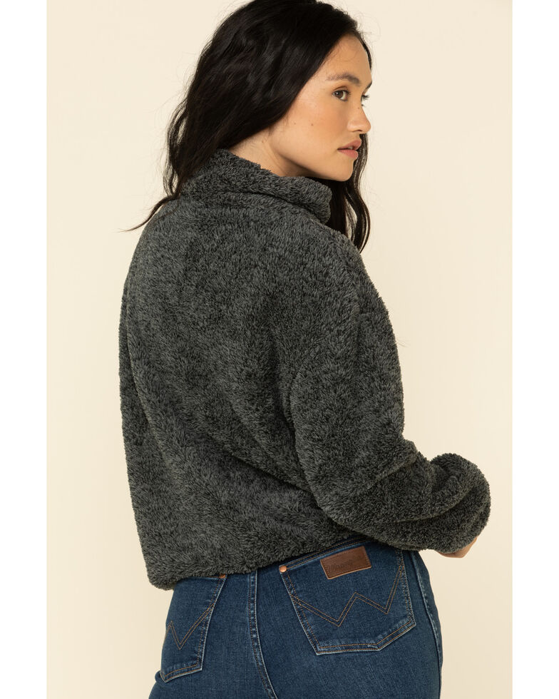 PJ Salvage Women's Cozy Cuddlers Fuzzy 1/2 Zip Up Pullover , Charcoal, hi-res