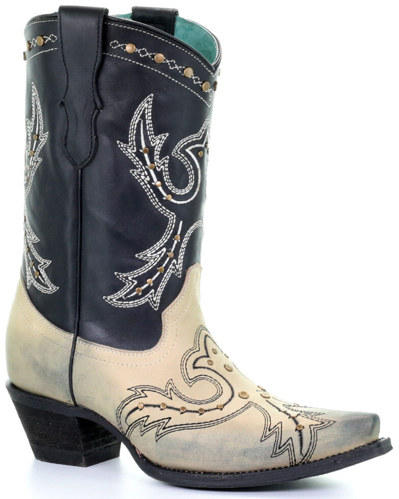 Corral Women's Bone Embroidery Western Boots - Snip Toe, Off White, hi-res