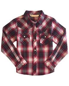 Ely Walker Girls' Cherry Plaid Long Sleeve Western Shirt , Red, hi-res