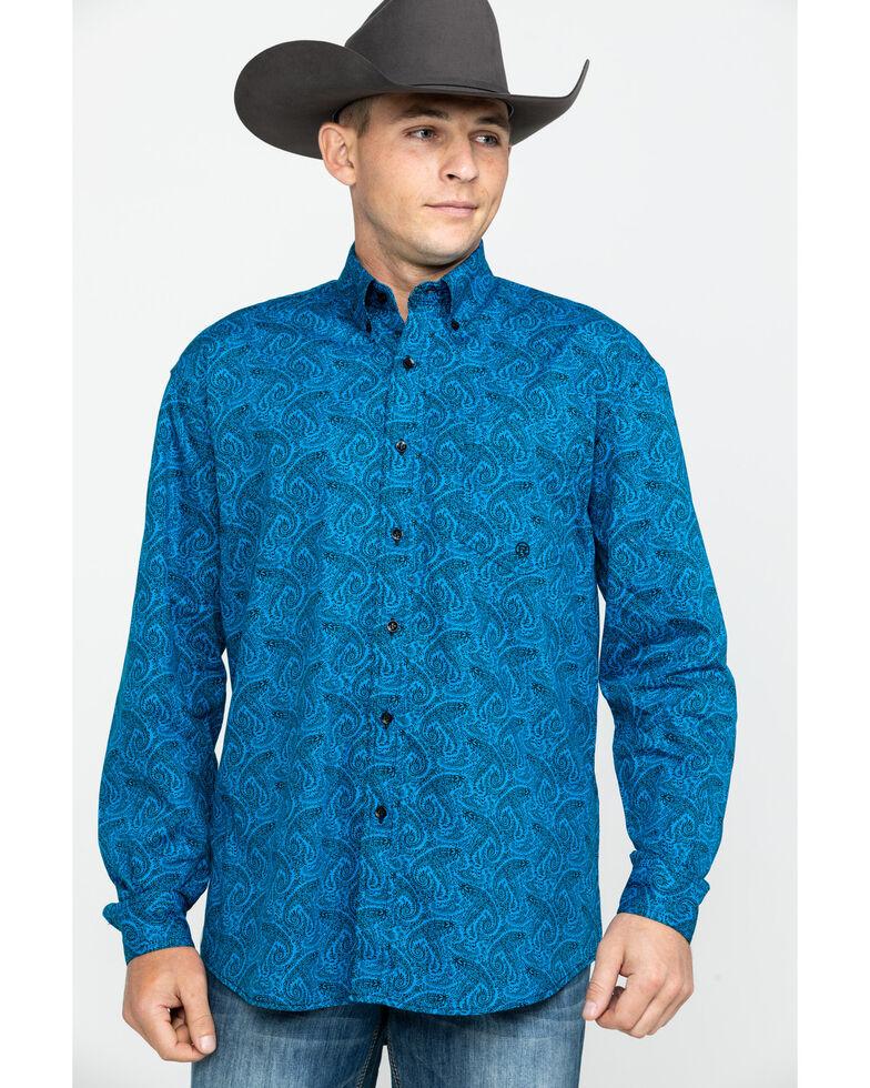 Roper Men's Amarillo Gentlemans Paisley Print Long Sleeve Western Shirt , Blue, hi-res