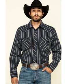 Wrangler Men's Black Serpe Striped Long Sleeve Western Shirt , Black, hi-res