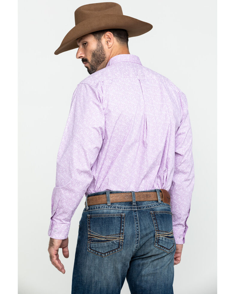 Ariat Men's Flatwoods Floral Print Long Sleeve Western Shirt , Purple, hi-res