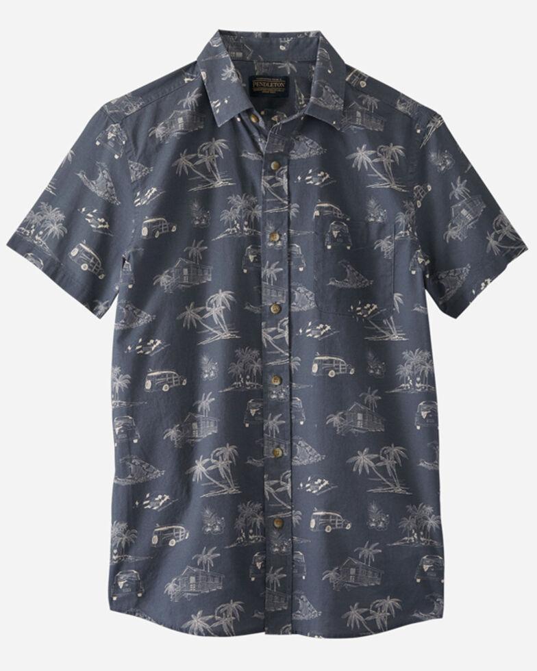 Pendleton Men's Navy Palm Print Shoreline Short Sleeve Button-Down Western Shirt , Blue, hi-res