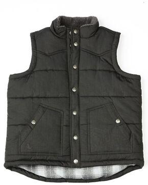 Cody James Boys' Mogul Puffer Snap-Up Vest , Black, hi-res