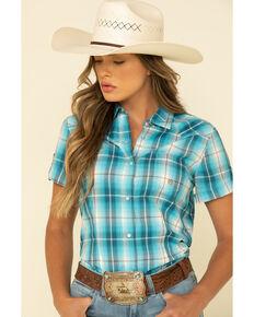 Amarillo Women's Turquoise Blue Short Sleeve Western Shirt, Blue, hi-res