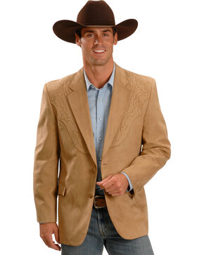 Circle S Men's Embroidered Micro-Suede Sport Coat , Camel, hi-res