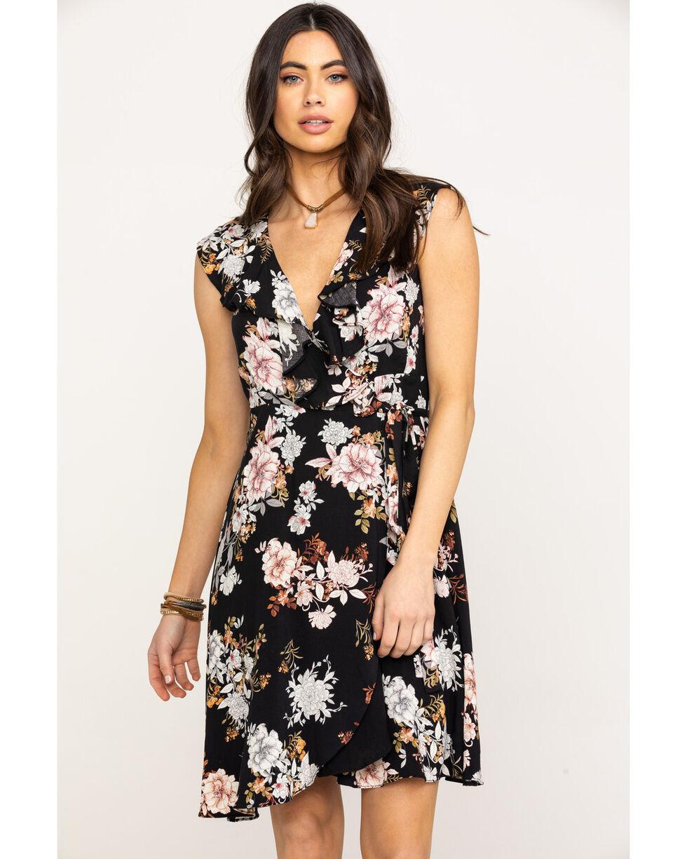 Mystree Women's Black Floral Surplice Wrap Dress, Black, hi-res