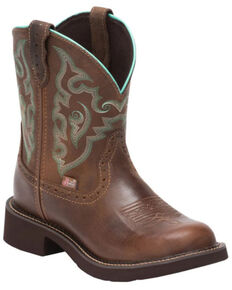 Justin Women's Gemma Brown Western Boots - Round Toe, Dark Brown, hi-res