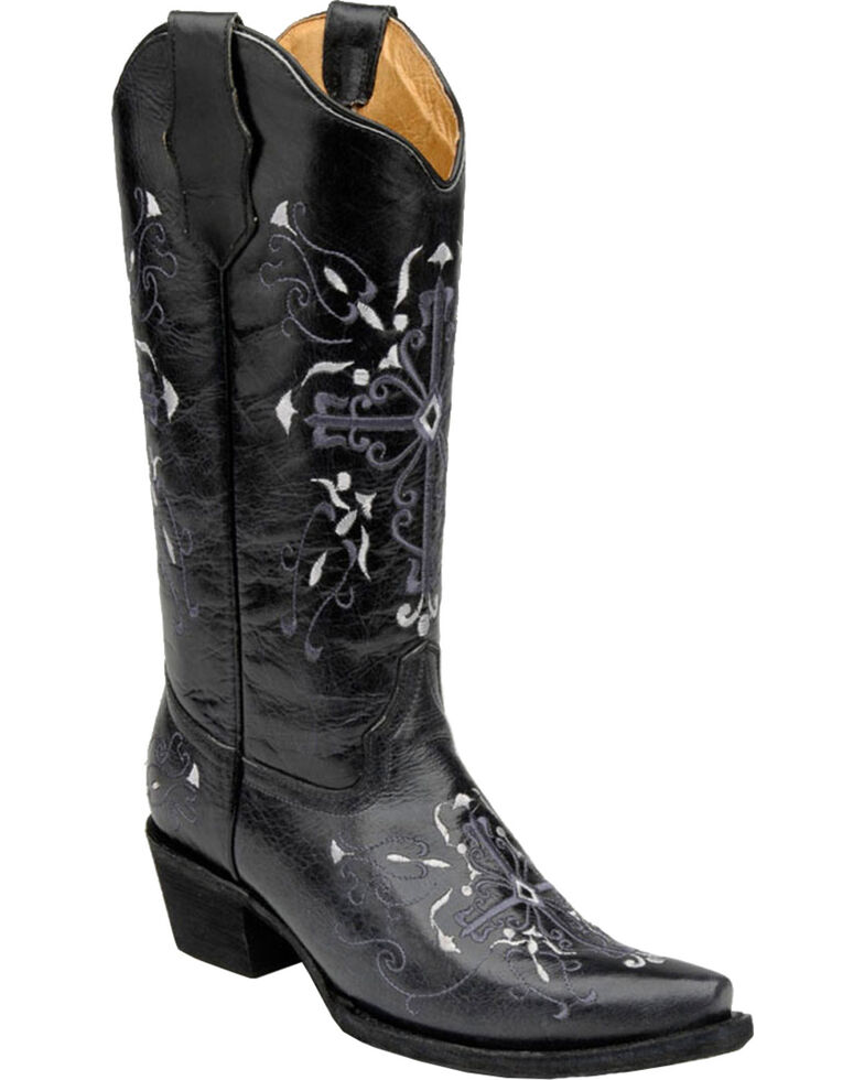 Circle G Cross Embroidered Cowgirl Boots - Snip Toe, Grey, hi-res