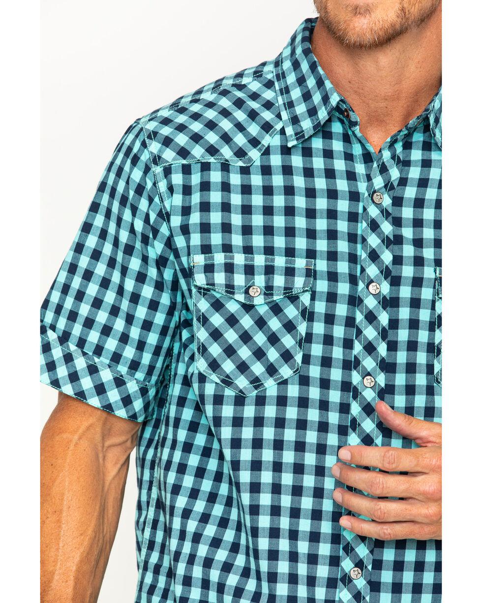 Ryan Michael Men's Aqua Gingham Short Sleeve Shirt , Aqua, hi-res