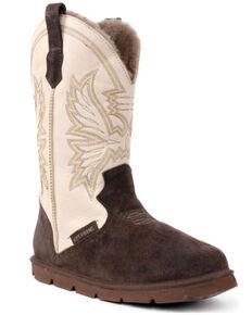 Superlamb Men's All Suede Western Boots - Round Toe, Dark Brown, hi-res