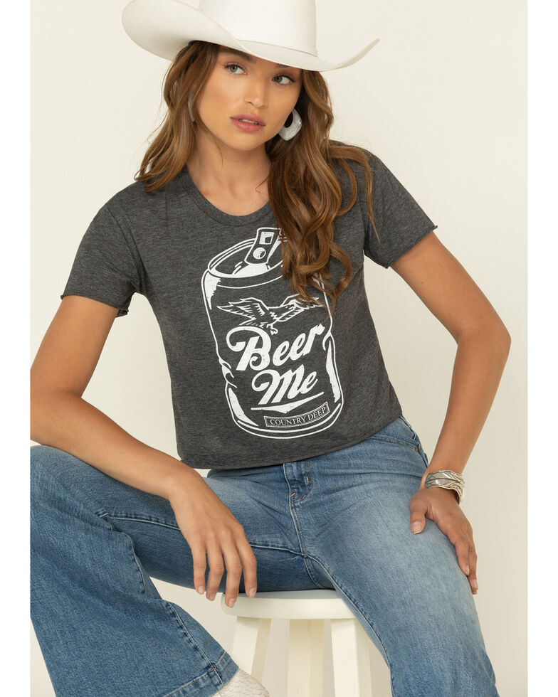Country Deep Women's Beer Me Graphic Cropped Tee , Charcoal, hi-res
