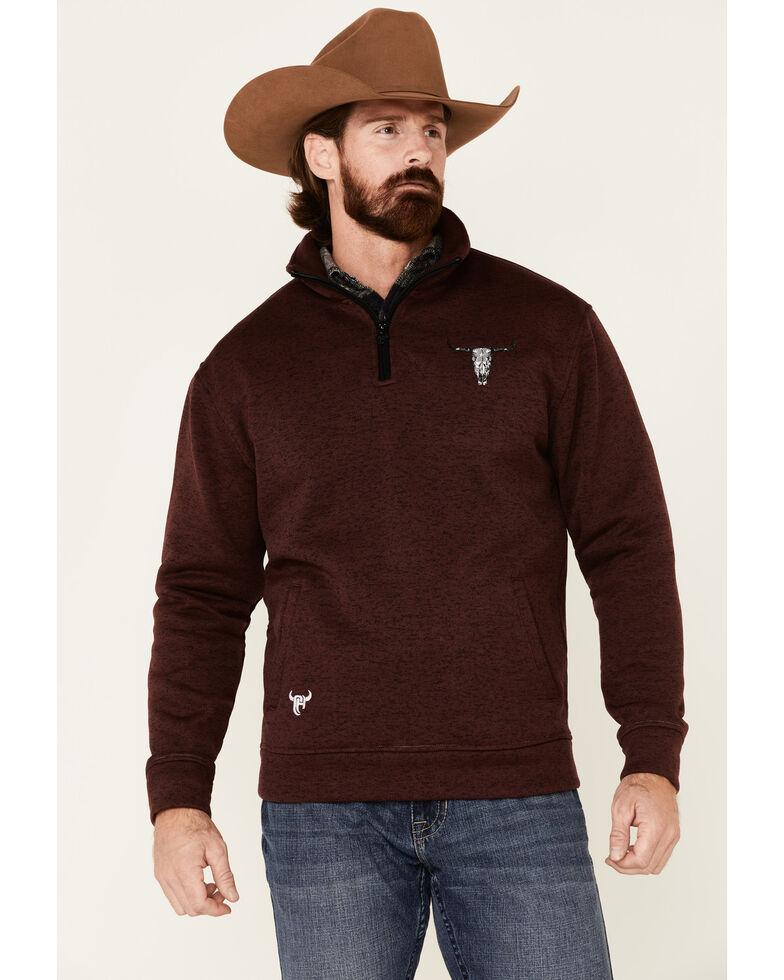 Cowboy Hardware Men's Burgundy Flag Skull Cadet Fleece Pullover, Burgundy, hi-res