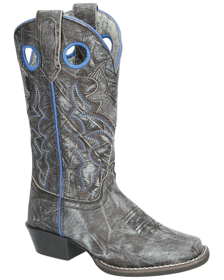 Smoky Mountain Youth Girls' Bluegrass Western Boots - Square Toe, Black, hi-res