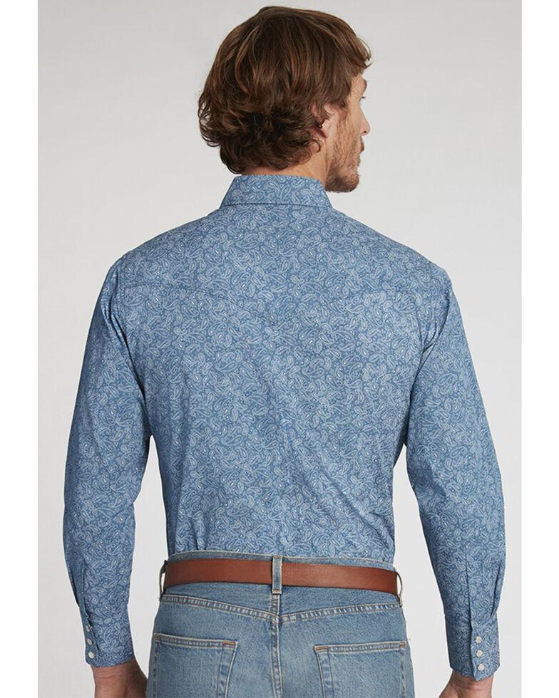 Ely Walker Men's Navy Paisley Print Long Sleeve Snap Western Shirt , Navy, hi-res