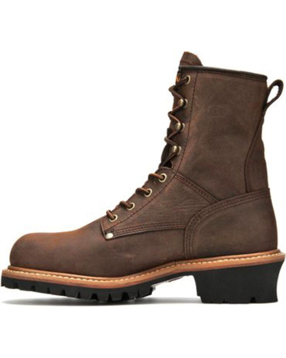 Carolina Men's Brown Waterproof Logger Boots- Steel Toe, Brown, hi-res