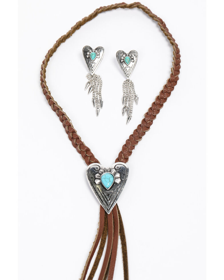 Shyanne Women's Emma Rae Heart Concho Braided Necklace Set, Brown, hi-res