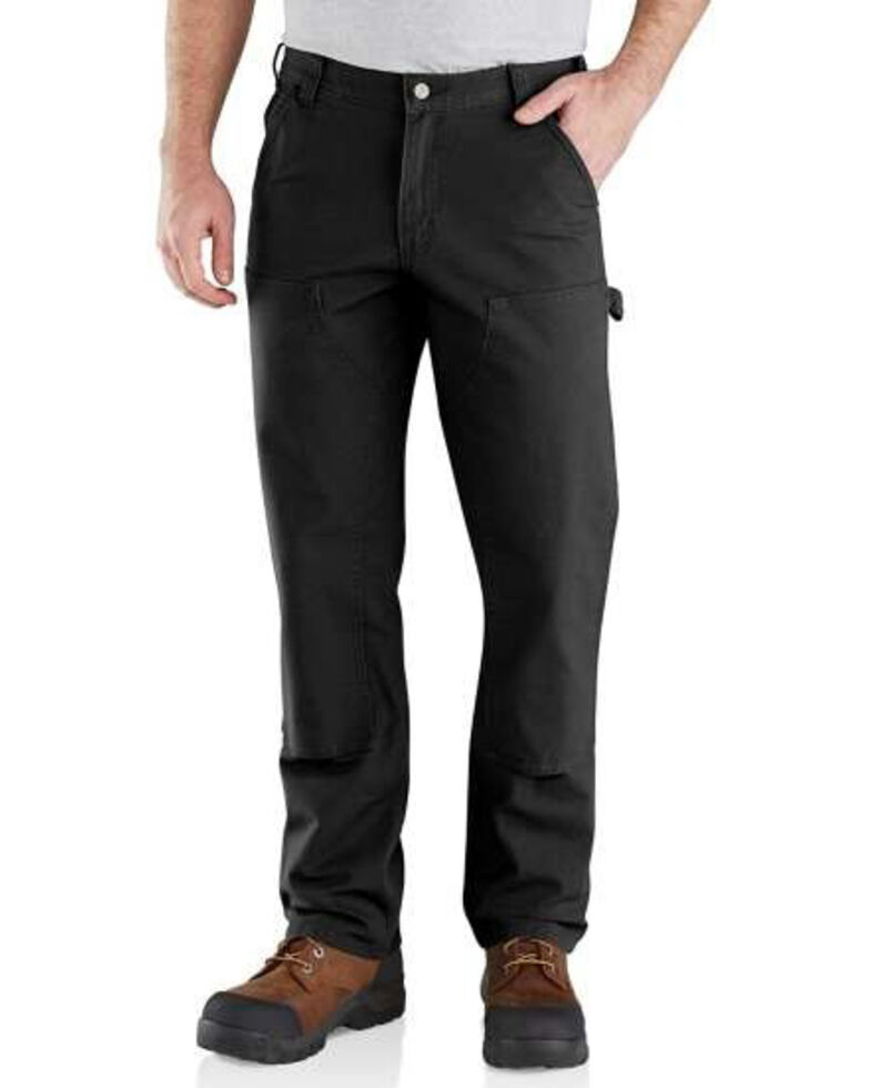 Carhartt Men's Rugged Flex Relaxed Fit Duck Double Front Work Pants, Black, hi-res