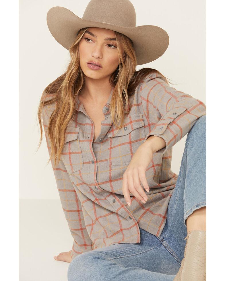 United By Blue Women's Plaid Long Sleeve Western Flannel Shirt , Grey, hi-res