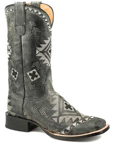 Roper Women's Geo Embroidery Western Boots - Square Toe, Black, hi-res